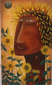 Christ With Sunflowers by Shehan Madawela