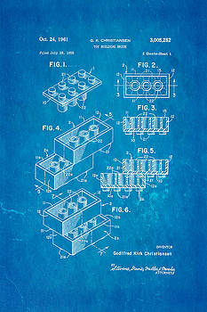 Ian Monk - Christiansen Lego Toy Building Block Patent Art 2 1961 Blueprint