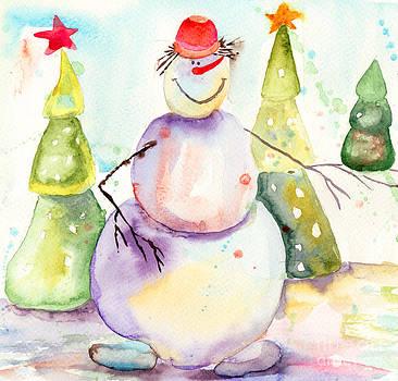 Christmas card with snowman by Regina Jershova