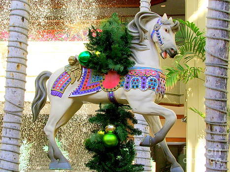 Mary Deal - Christmas Carousel Horse with Pine Branch