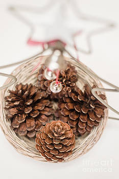 Christmas Decorative Basket With Pine Cones by Gillian Vann