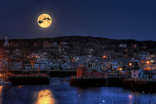 Santa and Reindeer Over Rockport Harbor by Liz Mackney