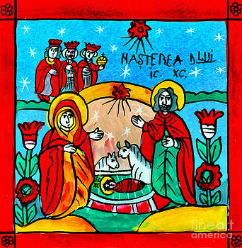 Christmas Icon Religious Naive Folk Art Nativity  by Daliana Pacuraru