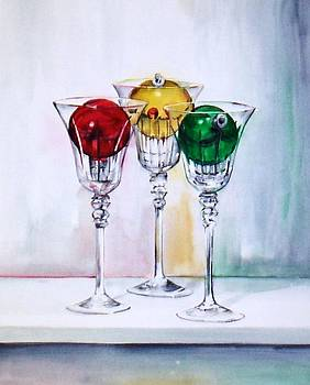 Christmas Ornaments in Wine Glasses by Jane Loveall