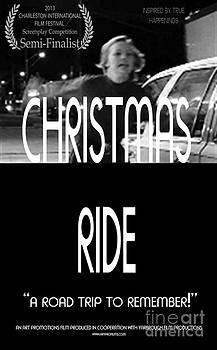Christmas Ride Poster B and W by Karen Francis
