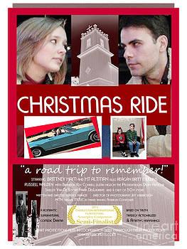 Christmas Ride Poster w Church by Karen Francis
