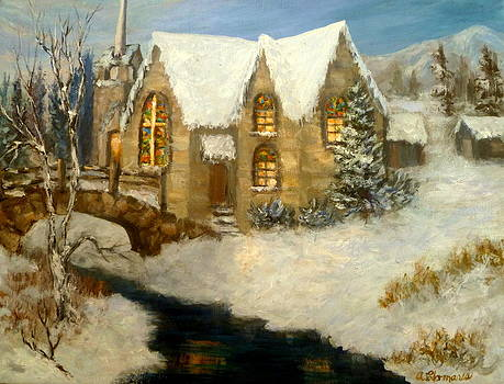 Church Snow Paintings by Amber Palomares