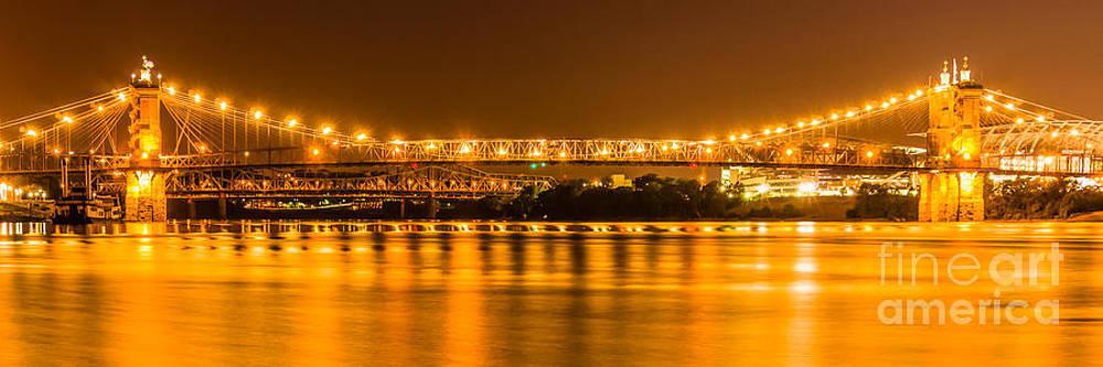 Paul Velgos - Cincinnati Bridge at Night Panoramic Picture