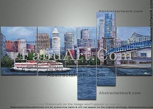 Cincinnati Multipanel cityscape painting by FabuArt