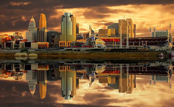 Randall Branham - Cincinnati  Queen City gold glow Reflections