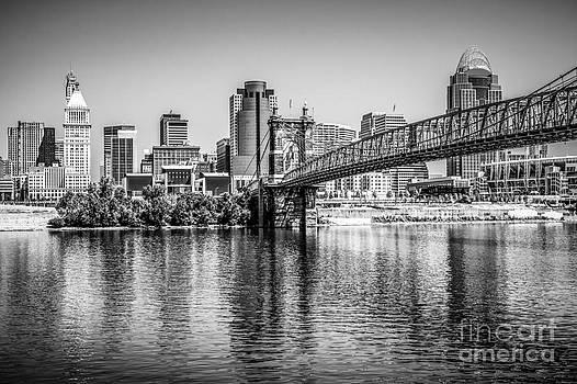 Paul Velgos - Cincinnati Skyline and Roebling Bridge Black and White Picture