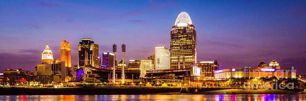 Paul Velgos - Cincinnati Skyline Night Panorama Photo