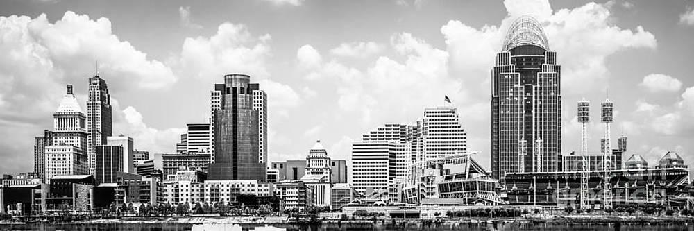 Paul Velgos - Cincinnati Skyline Panorama Black and White Photo