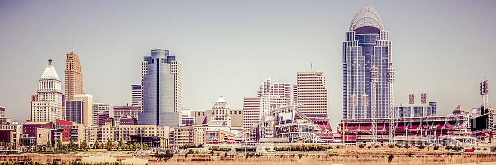 Paul Velgos - Cincinnati Skyline Retro Panorama Picture