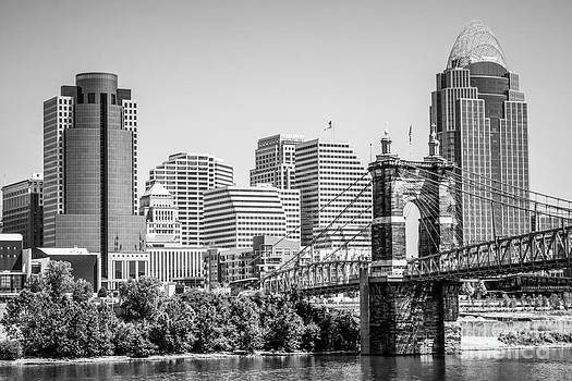 Paul Velgos - Cincinnati with Roebling Bridge Black and White Picture