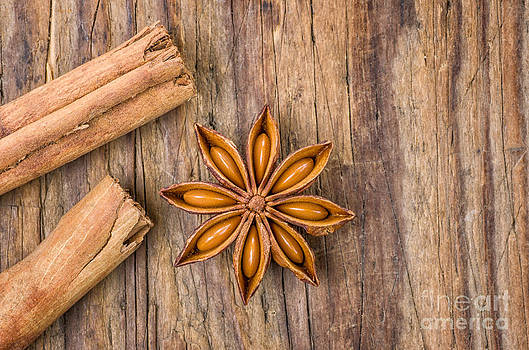 Cinnamon sticks and star anise on a wooden table by Palatia Photo