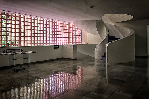 Lynn Palmer - Circular Stairway and Pink Ventilation Screen