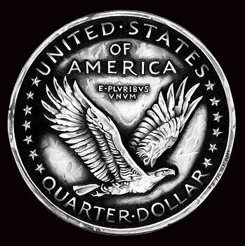 Circulated Standing Liberty Reverse Black and White by Fred Larucci