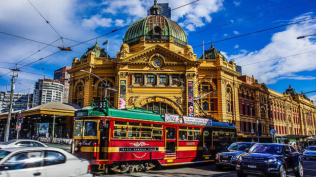 City Circle Tram at Flinders Street Station by Steven Jodoin