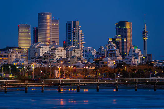 city lights and blue hour at Tel Aviv by Ron Shoshani