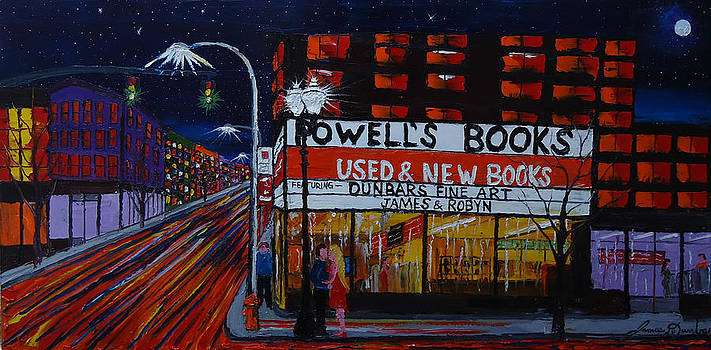 City Lights Over Powells Book Store by Portland Art Creations