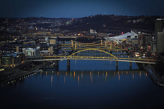 City of Bridges at night by Bob Carney