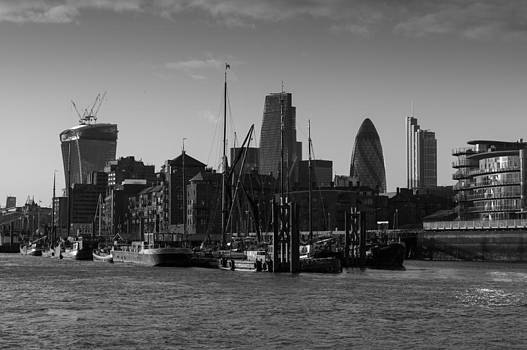 Gary Eason - City of London river barges Wapping black and white version