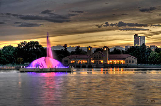 City Park Fountain Sunset II by Stephen  Johnson
