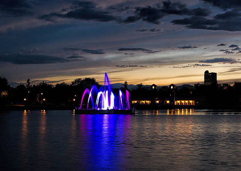 City Park Fountain Sunset III by Stephen  Johnson