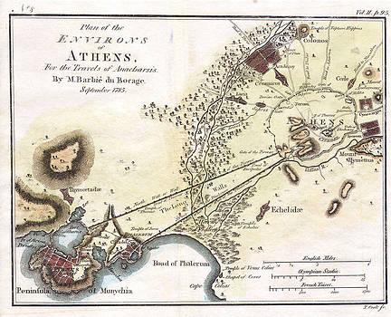 Jean-Denis Barbie du Bocage - City Plan of Athens in Ancient Greece