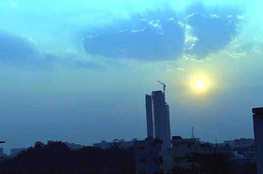 Usha Shantharam - City Sunset in Blue