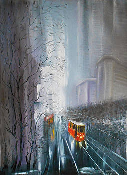 Cityscape painting from my Original oil painting on canvas palette knife The rain washes away all tr by Natalya Zhdanova