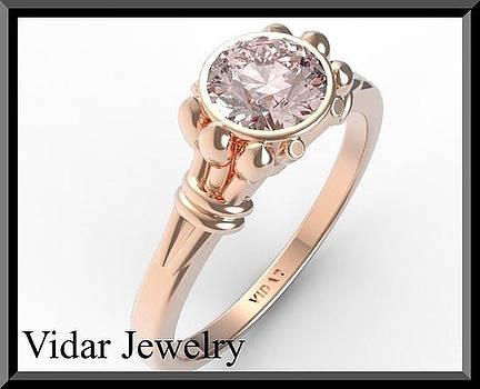 Classic Pink Morganite Solitaire 14k Rose Gold Engagement Ring by Roi Avidar