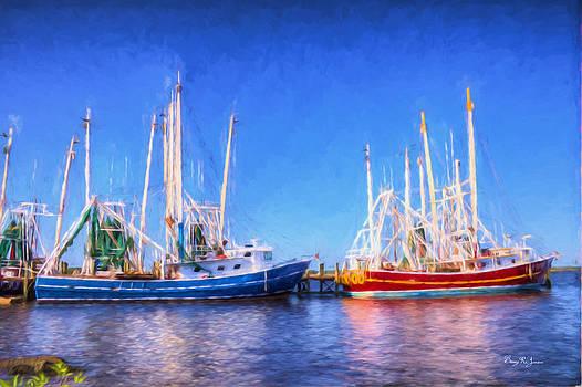 Shrimp Boats - Dock - Clear Day in Back Bay by Barry Jones