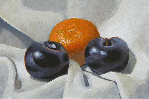 Clementine and plums by Peter Orrock