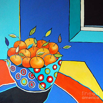 Clementines in a Spotty Bowl by Tracy-Ann Marrison