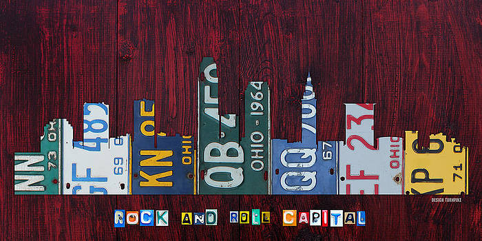 Design Turnpike - Cleveland Ohio City Skyline License Plate Art on Wood