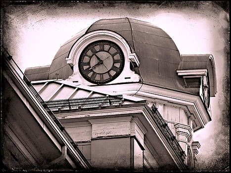 Laura Carter - Clock Tower Architectural Photograph Black and White