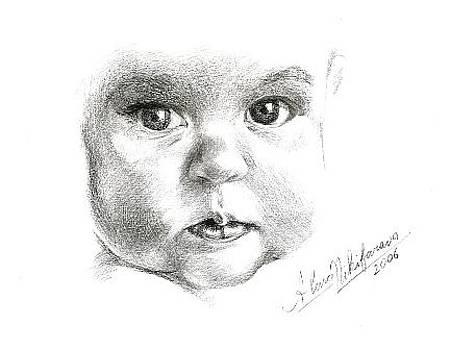Close up portrait of baby. Commission. by Alena Nikifarava