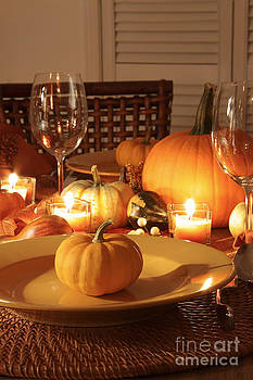 Sandra Cunningham - Closeup of place settings for Thanksgiving