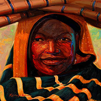 Kanayo Ede - Clothier. African fabric seller painting