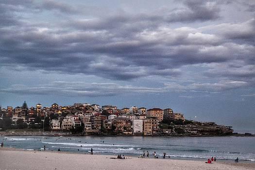 Cloudy Day on Bondi Beach Sydney Australia by Angela Seager