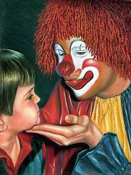 Clown and Child by JAXINE Cummins