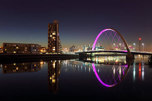 Clyde arc cityscape night reflection by Grant Glendinning