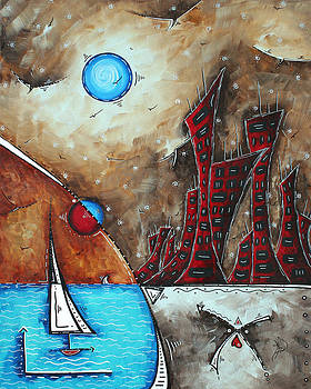Coastal Abstract Cityscape Art Original City Painting MORNING RETREAT by MADART by Megan Duncanson