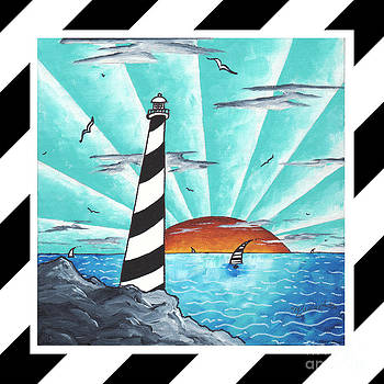 Coastal Nautical Decorative Art Original Painting Stripes Light House SEEKING THE LIGHT by MADART by Megan Duncanson