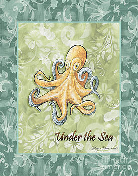 Coastal Octopus Painting Whimsical Damask Pattern UNDER THE SEA by Megan Duncanson