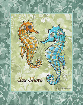 Coastal Sea Horse Painting Whimsical Damask Pattern SEA SHORE by Megan Duncanson