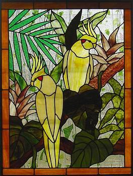 Cockatiel Garden panel by DK Nagano