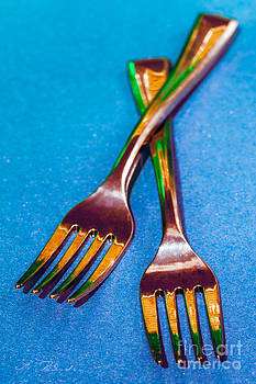 Cocktail Forks on Blue by Iris Richardson
